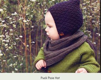 Puck Baby Pixie Hat Pattern, baby hat pattern, knit pattern,