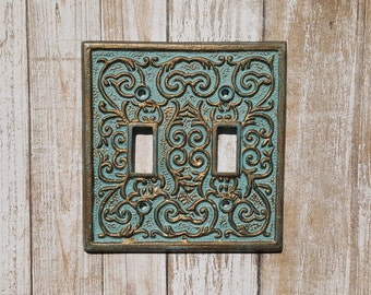Double Light Switch Cover, Cast Iron Switch Plate, Double Toggle Switch Cover, Blue and Gold Light Switch, Home Decor, Vintage Decor