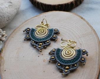 Bohemian Style Earrings, Gypsy Earrings, Tribal Earrings,Macrame Earrings, Thai Earrings