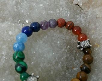 Bracelet 7 chakras tortue BODTT1 - 18cm