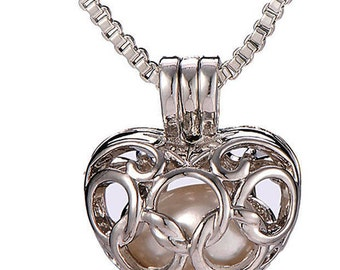 Elegant Silver colour  Slim Box Chain Necklace & Heart Shaped Pendant with Freshwater Pearl inside