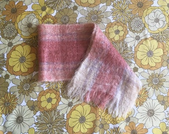 Vintage Pale Pink, White, and Lilac Mohair Scarf