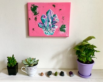 Crystal Original Art Hotpink Bright Colorful Glitter Acrylic Painting