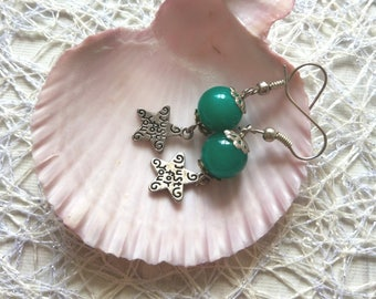 Green sea color stone jade earrings round green stone semiprecious crystal lightweight earring star jewelry christmas party gift for sister