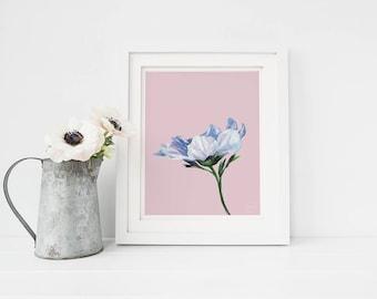 Blue flower print, nursery wall art, nursery decor, printable art, printable nursery art, watercolor flower print, watercolor nursery art