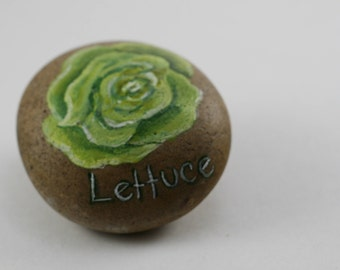 Hand painted river stone - Lettuce, in acrylic