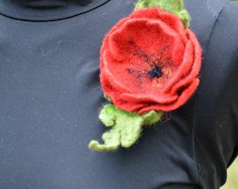 brooch poppy original gift for women felt brooch wool jewelry flower brooch red brooch accessory unique brooch handmade brooch wool brooch