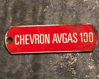 Chevron Avgas 100 Porcelain Tag