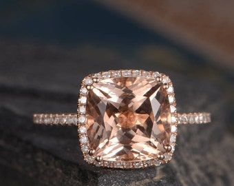 Morganite Engagement Ring Rose Gold Diamond Cushion Cut Halo Half Eternity Delicate Ring Women Bridal Set Ring Pave Anniversary Gift For Her