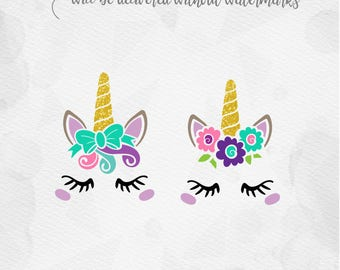 Unicorn SVG Unicorn Head SVG Unicorn Face SVG - Bow Unicorn horn Birthday - Cricut Silhouette - pdf png svg - girls birthday svg