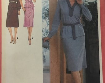 Vintage 1970s Simplicity 9225 2 piece top and dress sewing pattern