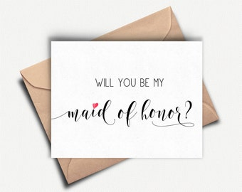 Will you be my Maid of Honor Card, Maid of Honor Proposal, Maid of Honour Invitation, Wedding Party Card, Bridal Party Card