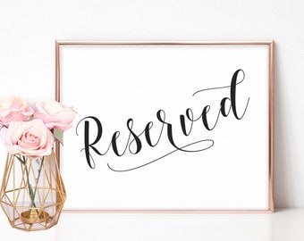 Wedding Reserved Sign, Reserved Sign Weddings, Reserved Seat Sign, Wedding Ceremony Decor, Reserved Seating Signage, Printable Reserved Sign