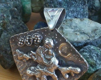 silver pendant 100% handmade metalwork, 925 silver, 14k gold one of a kind silver art piece.