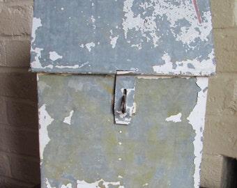 Vintage Galvanized Metal Tool Box Patina Rustic Industrial
