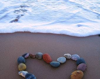 Pebble Love Heart Greetings Card