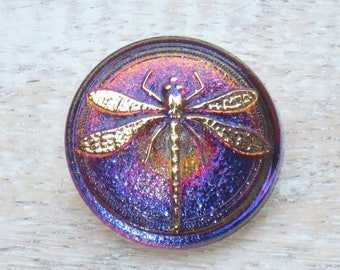 31mm Czech Glass Dragonfly Purple Vitrail Button- Iridescent Button