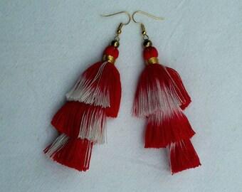 Hot Red Tassel Earrings, Three layer Red Tassels.