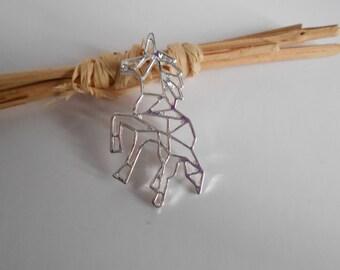 1 pendant silver unicorn origami 30 x 30 mm
