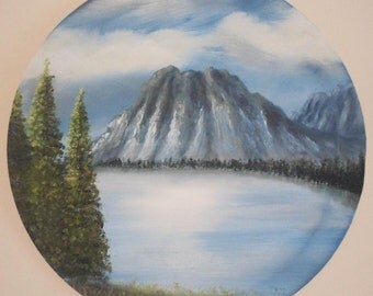 """Original Landscape Oil Painting """"Lakeside Peaks"""" blue painting, birthday gift, home decor, husband gift, anniversary gift, ready to hang"""