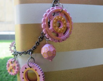 Pink and Gold Steampunk Bracelet