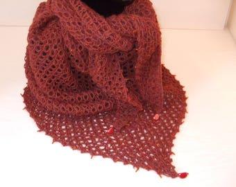 Hand knitted rust Alpaca shawl