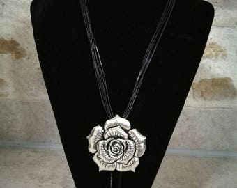Black leather necklace, pendant Pink European beads