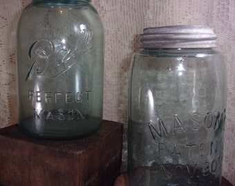 2 Ball Mason Jars Blue Green Vintage/ Antique Zinc Lids Mason's Patent 1858 and Perfect Mason Quart Size