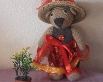 Red Teddy bear wool crocheted 26 cm.