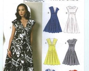 V9103 Vogue - Misses Lined, raised waist Dress, midriff & pockets - NEW Sewing pattern Sz. E5 14-16-18-20-22