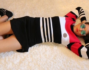 80's vintage Eagle Point sweater red black and white striped