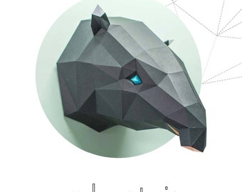 Malayan Tapir     pepakura papercraft low poly paper sculpture DIY wall decor