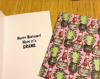 Pineapple Grand Marnier Birthday Card
