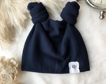 Waffle Topknot Beanie in Midnight Blue