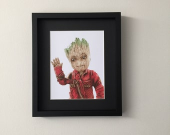 Baby Groot, Guardians Of The Galaxy 2, print of fan art portrait gouache painting