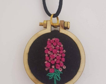 Embroidery Pendant- pink flower