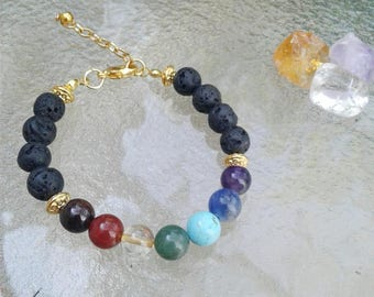 Healing - Chakra Bracelet - Lava Rock Bracelet -Chakra Jewelry - Stone Jewelry -  Stone Bracelet -Spiritual - Aromatherapy - Oil Diffuser