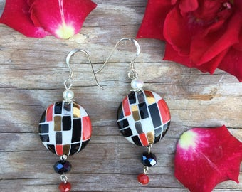 Hand Painted Porcelain Earring, Rectangle Designs, Crystal Beads, Sterling Silver