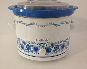 Large 6 Quart Vintage Chefmate by Rival Crock Pot Ceramic Stoneware Slow Cooker Blue Floral Crockpot Lid Serving Dish Electric Model 3656