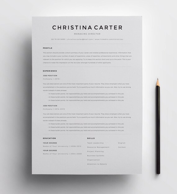 creative resume template minimalist resume resume modern resume cv template cv clean resume professional resume template for word - Minimalist Resume Template