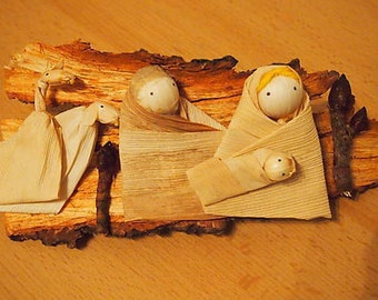 Betlehem from corn husk on wood