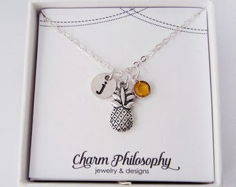 Pineapple Necklace -Silver Pineapple Jewelry - Pineapple Gift - Personalized Monogram Initial and Swarovski Birthstone - Fruit Jewelry