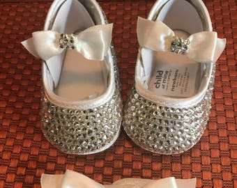 Handmade NB Crystal Shoes and Headband