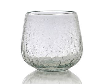 Glass, whiskey, blown mouth, Crackle Glass, handmade