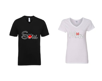 Valentine Gifts Soul Mate Disney Mickey Minnie Mouse COUPLE Printed Adult V Neck Shirts Unisex VNeck T-Shirts for Men Women Matching Clothes