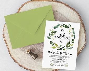 White Flower Wedding Invitation Suite - Printable Wedding Invitation - Custom Greenery Wedding Invitation Template -  Wedding Invitation set