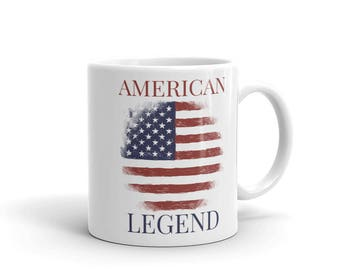 Patriotic American Mug | American Legend mug | USA | US flag, Stars and Stripes, Veterans, Birthday and Christmas gift for him and her