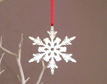 Silver Snowflake Christmas Tree Decoration, Festive Metal Ornament, Stocking filler, Xmas Gifts