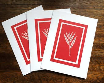 Winter grass embossed Christmas cards (set of three), individually handmade: peace on earth, holiday card, fine cards, winter, SKU PEA21042