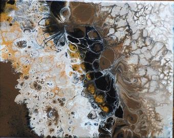 WARATAH- Fluid acrylic abstract painting. Bright and colourful handmade original art. Ready to hang.
